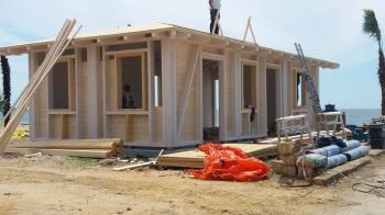 Struttura in legno in fase di realizzazione