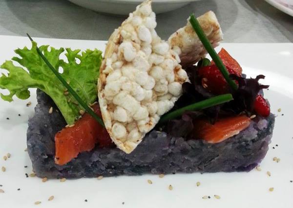 Lingotto di Patata Viola e Salmone Marinato Degustibus a Modugno Bari