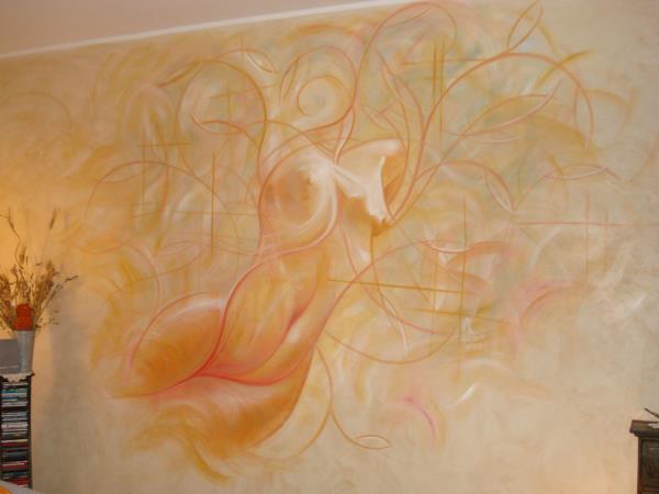 dipinto su parete soggiorno