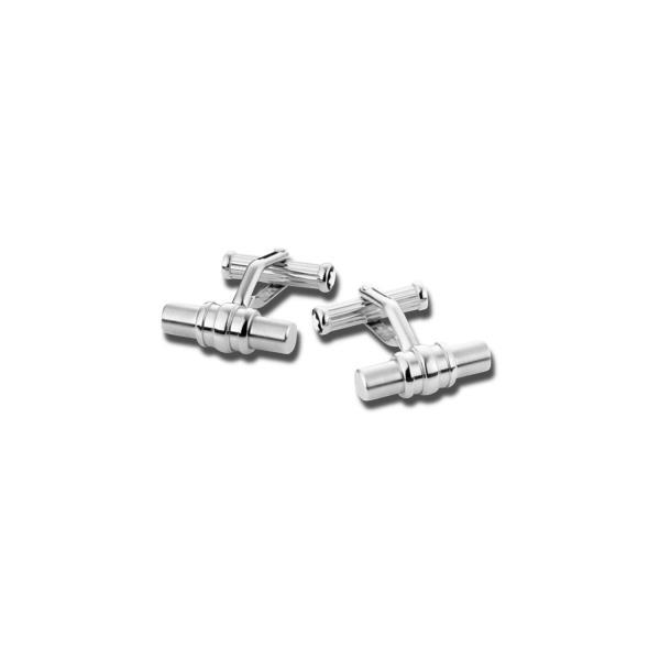 Gemelli a barra in acciaio pregiato color platino<br>110672<br>€305