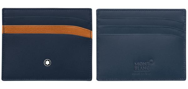 Porta carte di credito a 6 scomparti in pelle Meisterstück navy all'esterno e pelle naturale con concia vegetale all'interno<br>118309<br>€125