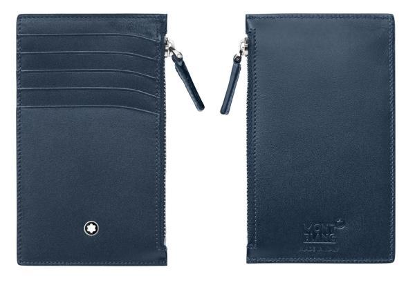 Porta carte di credito Meisterstück realizzata in pelle navy con effetto lucido a 5 scomparti e una lunga tasca con cerniera<br>118314<br>€185