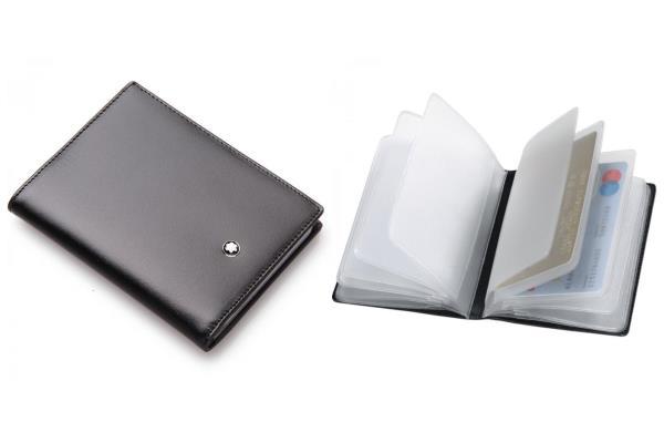 Porta carte di credito Meisterstück con 12 tasche trasparenti rimovibili realizzato in pelle di vitello nero lucido<br>5527<br>€170