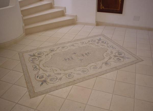 Pavimento in cotto con rosone lavorazioni in marmo Manduria Taranto