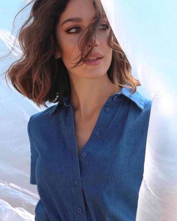Camicia in seta blu