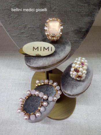 Anelli in quarzo rosa, perle e tormalina rosa di M