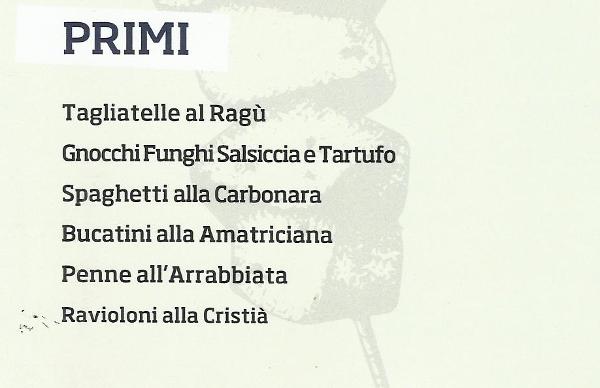 Menu Primi Piatti Ristorante Pizzeria Da Cristia' a Collemarino Ancona