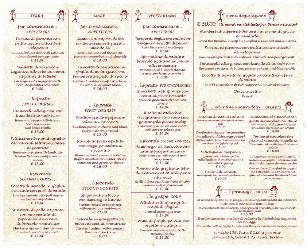 menu ristorante le sorelle roma centro storico