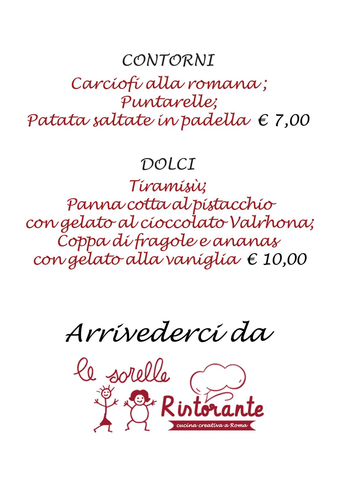menu di pasqua ristorante le sorelle roma centro storico