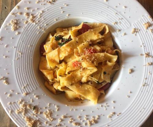 Pappardelle con trota salmonata  Osteria Vecchio Botticino Brescia