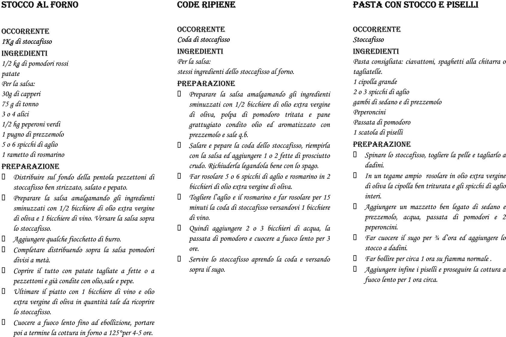 Ricette Stoccafisso Gioacchini dal 1900 a Ancona