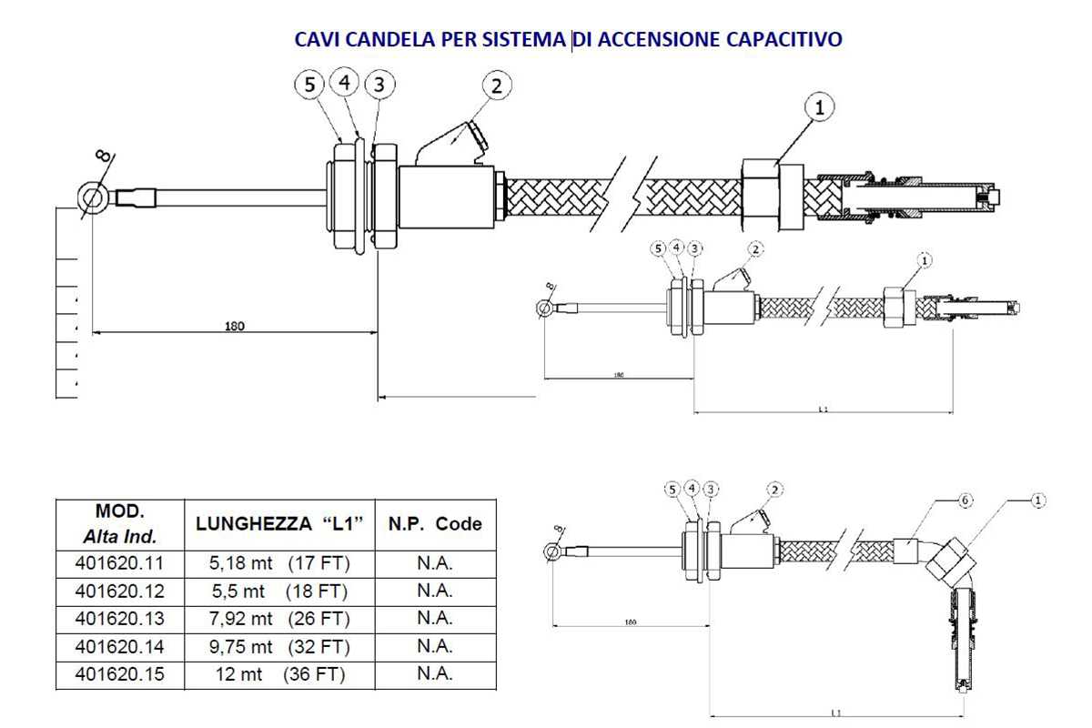 Cavi Candela per Sistema di Accensione Capacitivo  Alta Industries srl a Scandicci Firenze