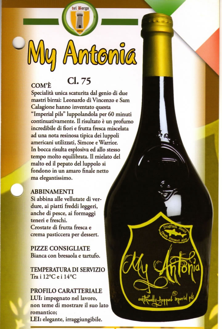 Birra My Antonia Luppolo e Farina Roma Eur Montagnola