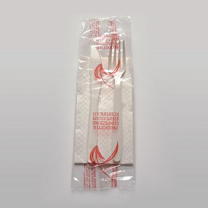 Bis posata bianca 4 gr + tovagliolo 1 velo  Paperplast a Sesto San Giovanni Milano