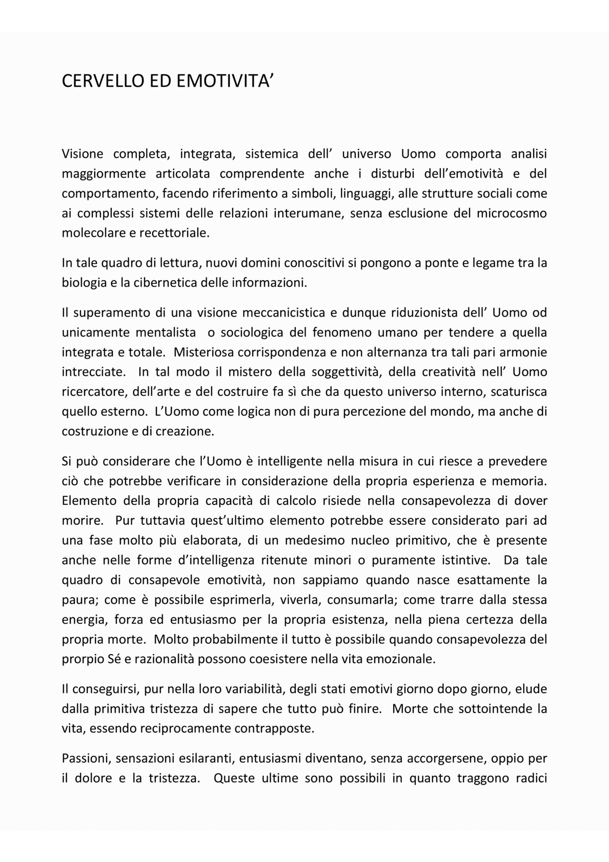 CERVELLO ED EMOTIVITÀ