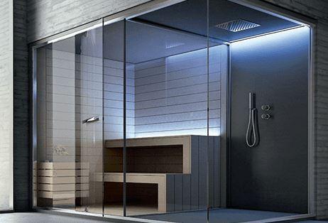 Box doccia con angolo sauna