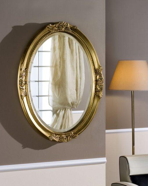 Specchiera in foglia d'oro patinato