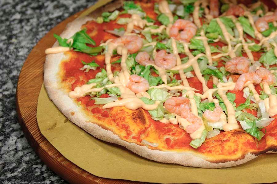 Pizza con i gamberetti