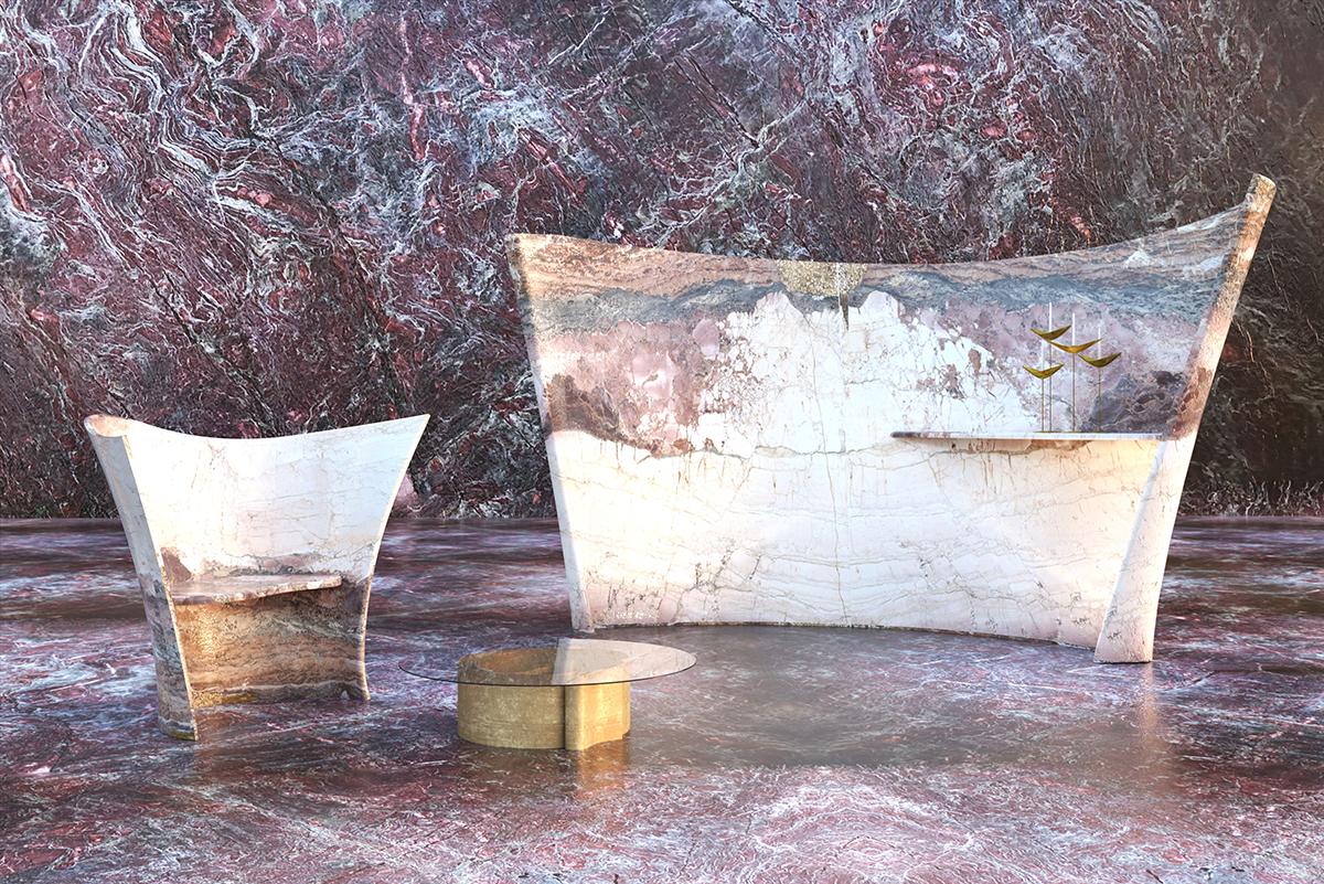 Parete e seduta curve in Breccia Medicea dell'Acquasanta, superfici in Rosso Rubino