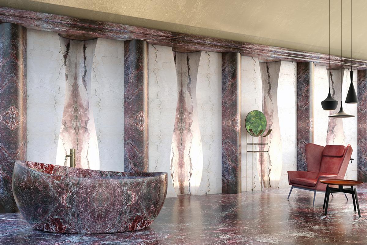 Sala da bagno realizzata con Brecce Medicee, curvatura del marmo e macchia aperta