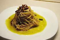 Spaghetti con Zucchine, Funghi e Guanciale