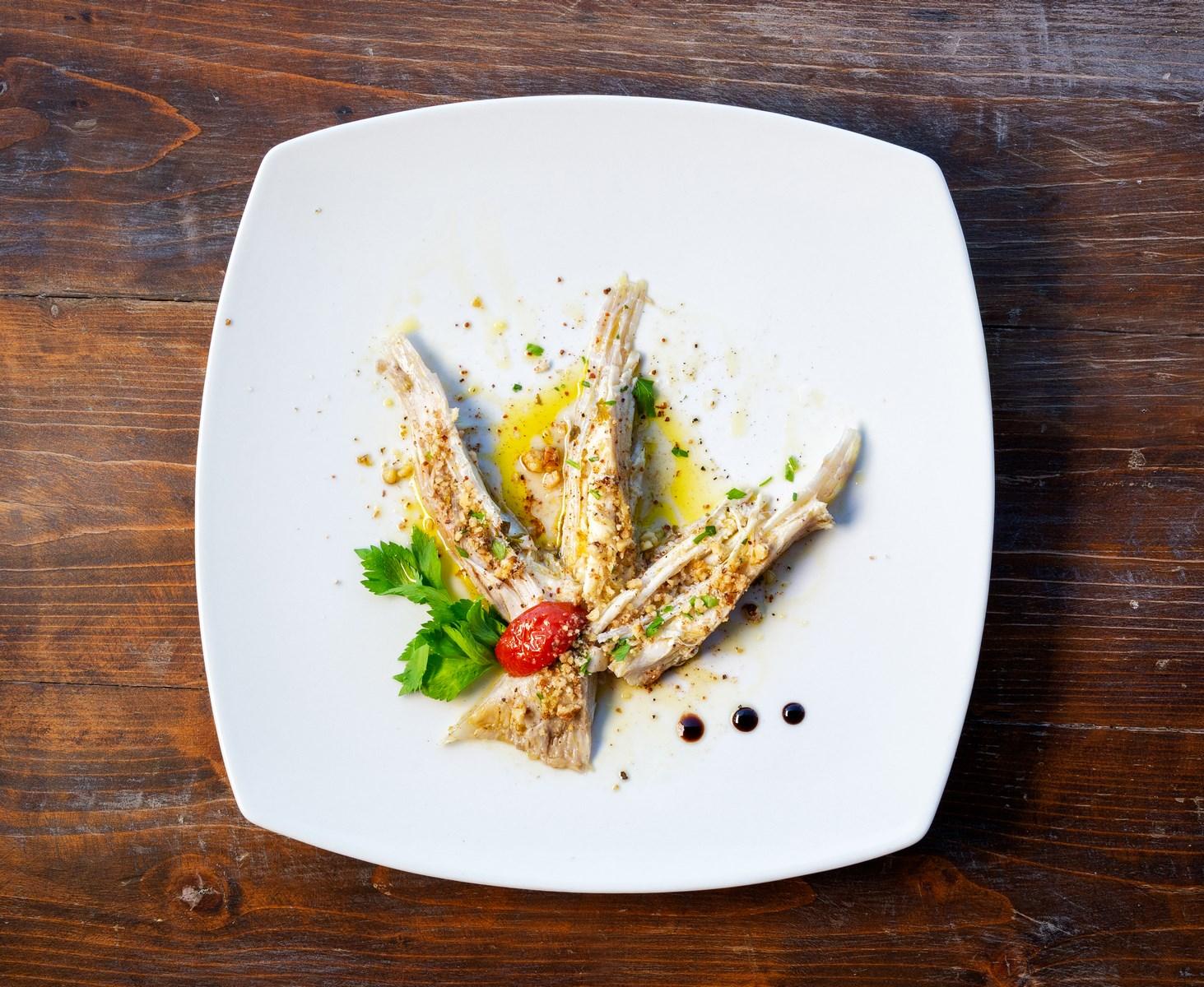 ristorante menu di pesce fresco