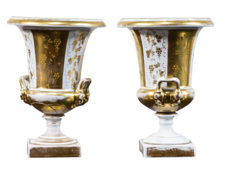 Coppia vasi a cratere, porcellana, Francia, epoca Impero