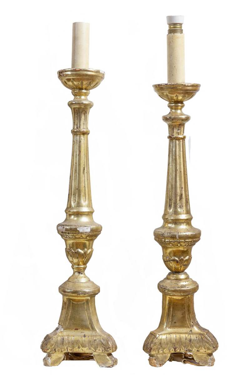 Coppia candelieri dorati, Italia, seconda metà del Settecento