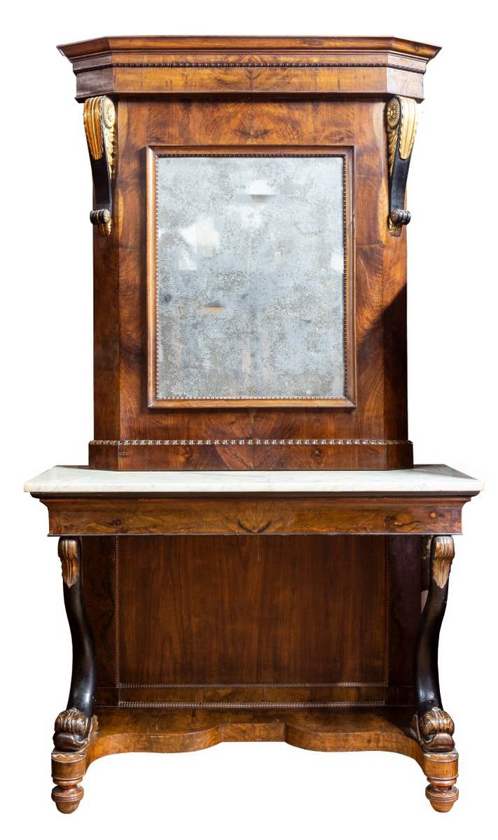 Consolle con specchio, radica di noce, Francia, epoca Carlo X
