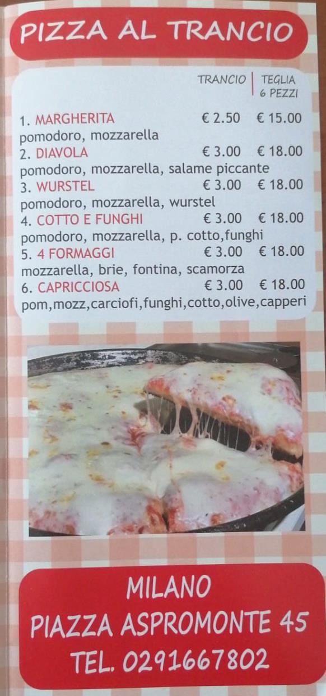 Menu pizza al trancio