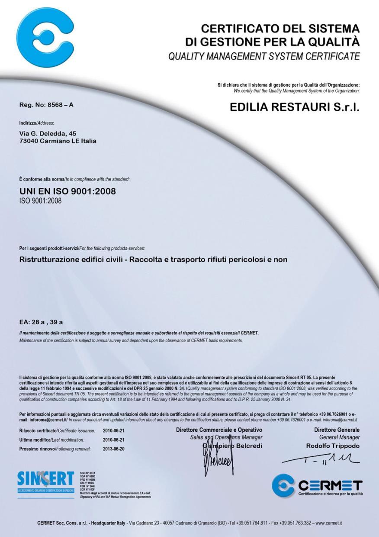 Certificato del sistema di gestione della qualità