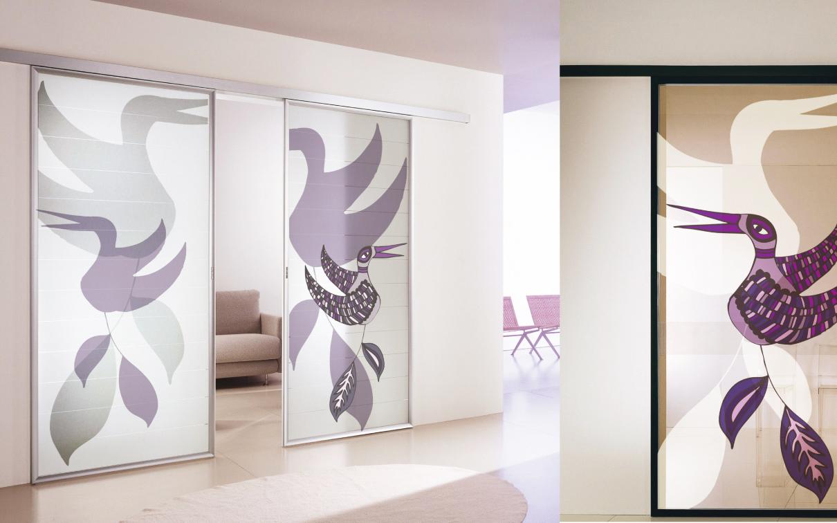GQ Glass porte scorrevoli decorate e con finiture satinate