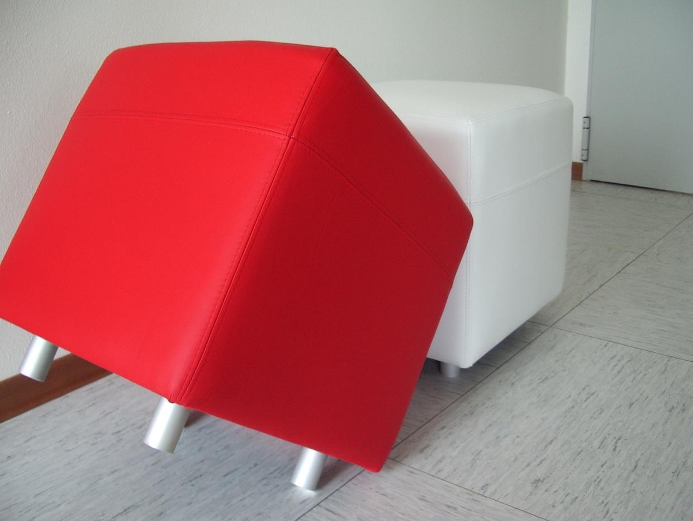 Canapè Pouff rosso e bianco