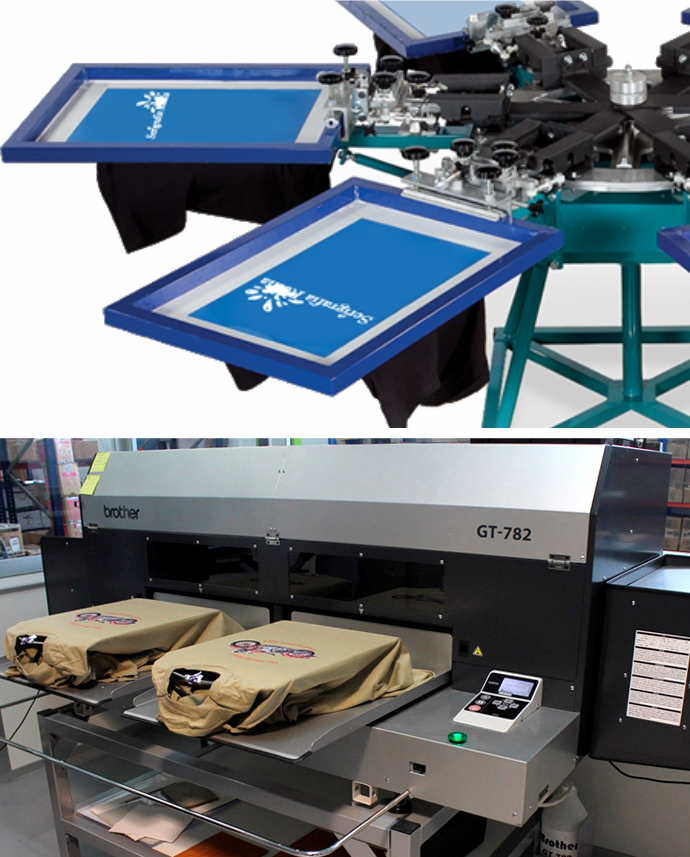 stampa serigrafica e stampa digitale diretta