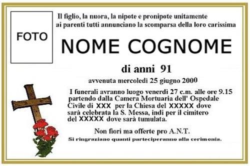 Affissione manifesti agenzia funebre morganti