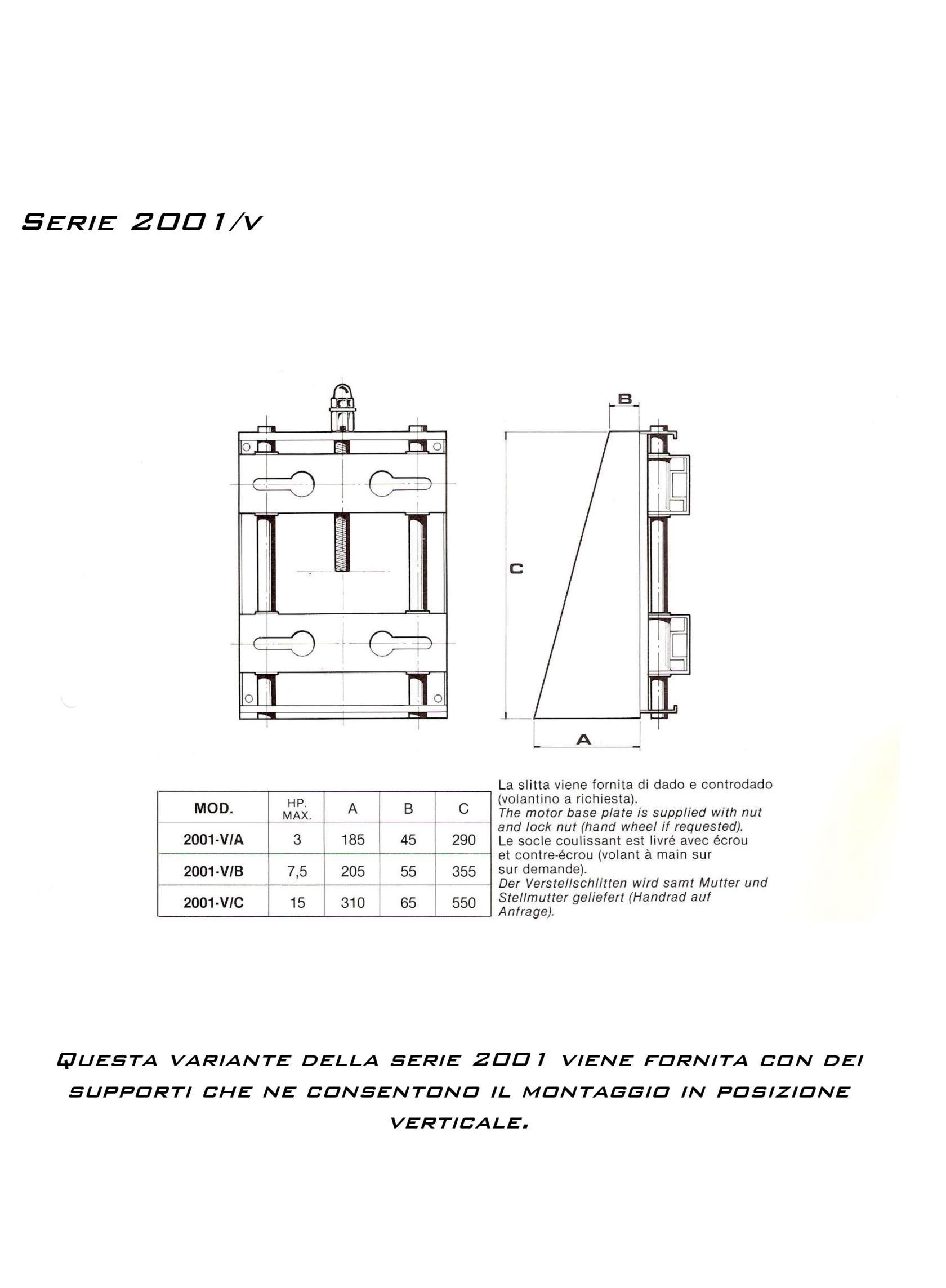 Slitte per motori elettrici  Serie 2001/v