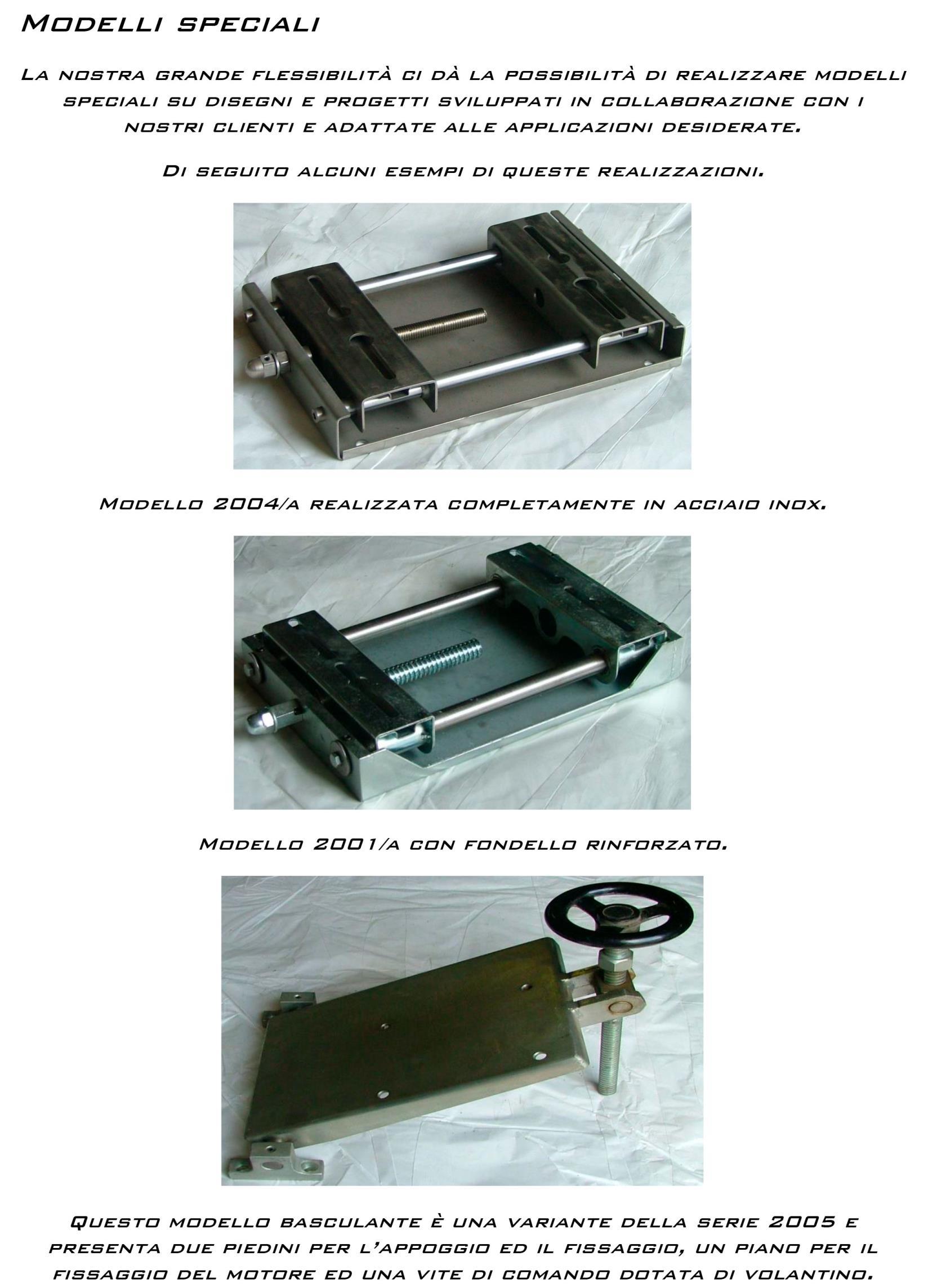 Slitte per motori elettrici modelli speciali a Monterienzo