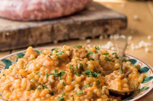 Fregola di grano monococco e salsiccia