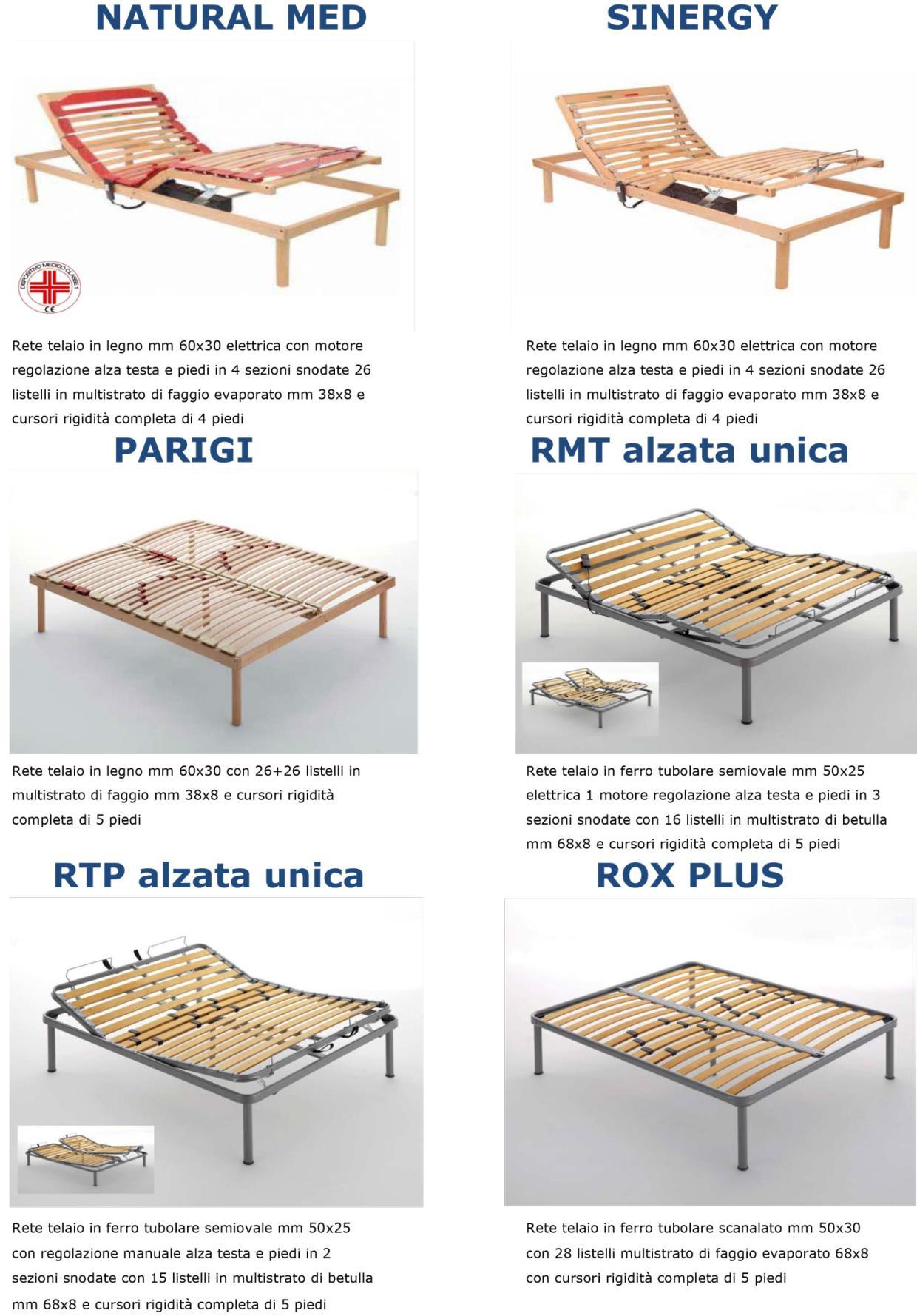 Reti da letto con telaio in legno e in ferro Punto Notte