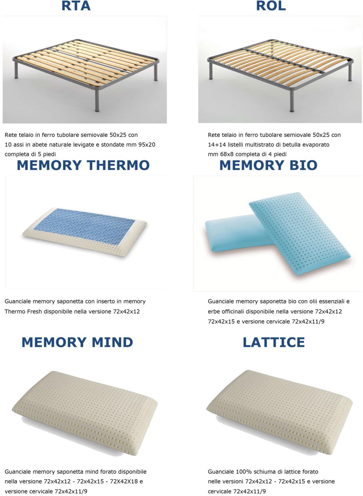 Reti con doghe in legno e cuscini in lattice