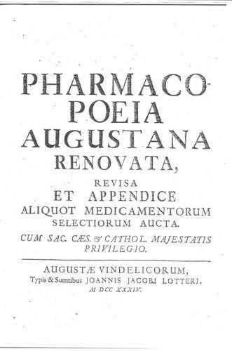 Frontespizio Farmacopea Augustana
