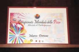 attestato campionato mondiale della pizza