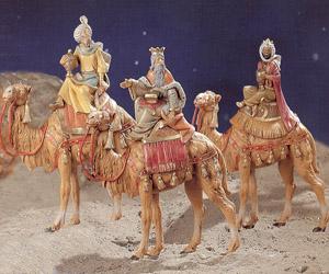 statue presepi tre re magi sul cammello