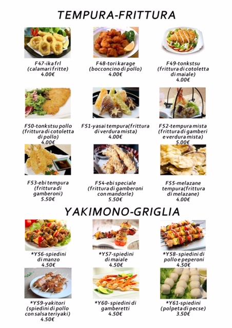 menu giapponese ristorante izumi