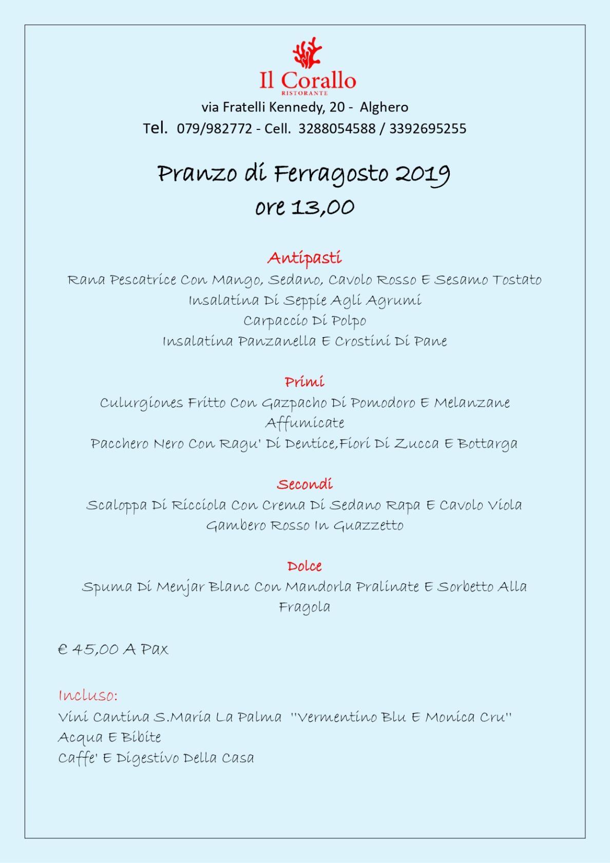 Pranzo di Ferragosto 2019 ore 13,00