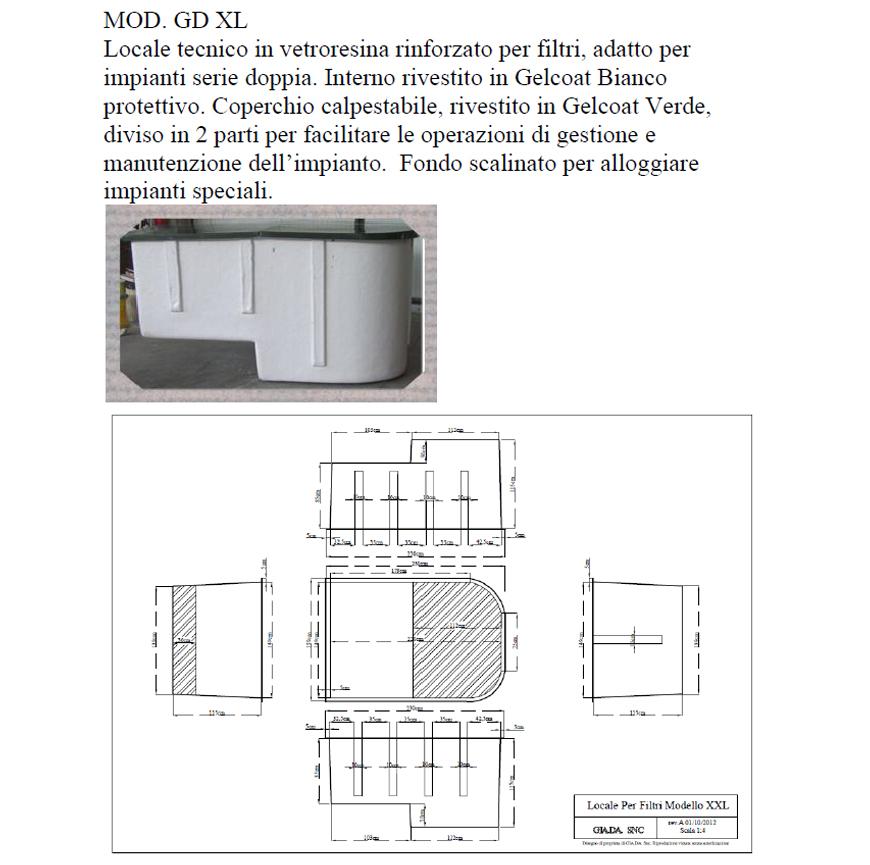 Locale Tecnico in Vetroresina mod. GDXL