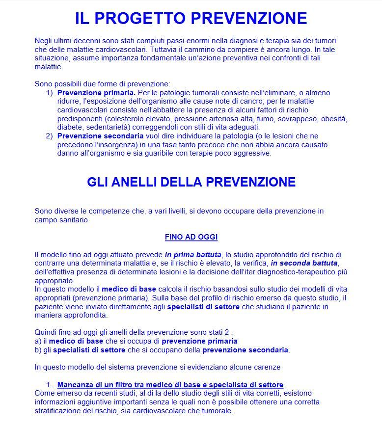 progetto prevenzione