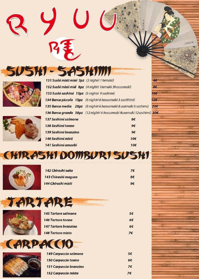 menu giapponese ryuu