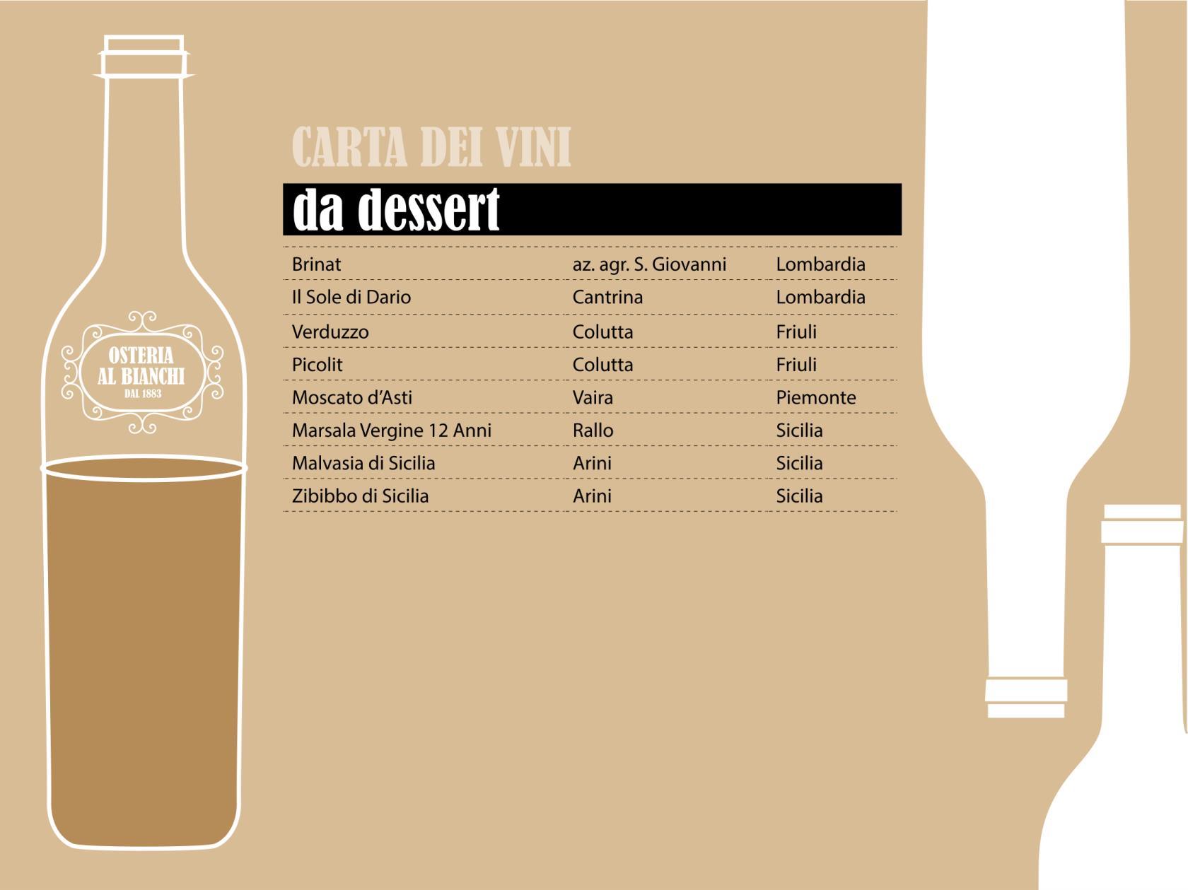 carta dei vini da dessert - osteria al bianchi trattoria tipica brescia centro