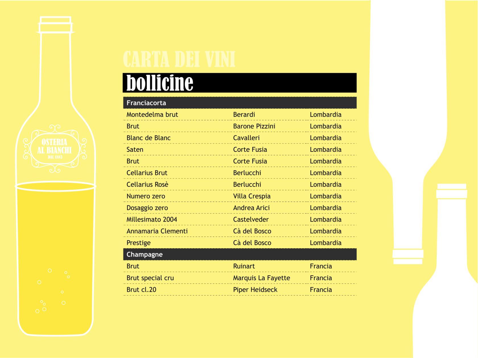 carta dei vini da aperitivo - bollicine - prosecco - spumante - champagne - prosecco della franciacorta - osteria al bianchi trattoria tipica brescia centro